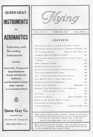 Flying (magazine) - Flying banner and index, February 1915, Vol. 4, No. 1