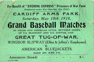 British baseball - Ticket for a match at Cardiff Arms Park