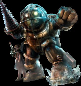 Big Daddy (BioShock) - A Bouncer-type Big Daddy alongside a Little Sister