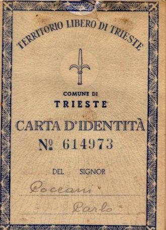 Free Territory of Trieste - Free Territory of Trieste identity card.