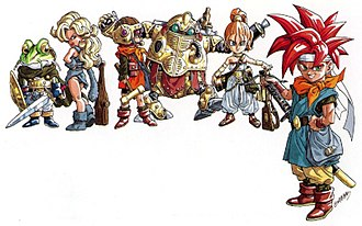 Characters of Chrono Trigger - From left to right: Frog, Ayla, Lucca, Robo, Marle, and Chrono