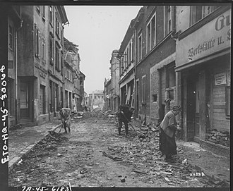 Aschaffenburg - Civilians clearing away the rubble, 3 April 1945