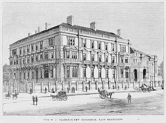 East Melbourne, Victoria - Cliveden Mansions in 1887, Melbourne's largest terrace house development was demolished in the late 1960s to make way for the high-rise Hilton Hotel.