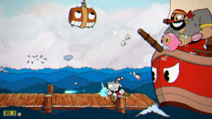 Cuphead - In-game screenshot of Cuphead, showing the player battling Captain Brineybeard, one of the game's bosses