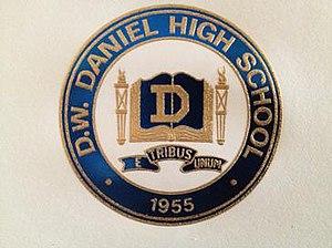 D. W. Daniel High School - Blue and gold crest of D. W. Daniel High School