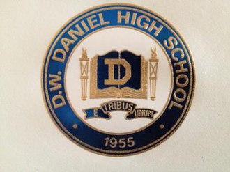 D. W. Daniel High School - Blue and gold crest of D. W. Daniel High School