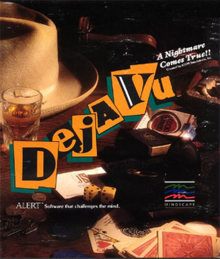 "A large brown Fedora hat and a glass of liquor on a table with the title of the game ""Déjà Vu"" in large letters."