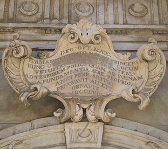 Castellania (Valletta) - Inscription commemorating the reconstruction of the Castellania