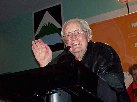 Donald C. MacDonald, CCF/NDP Leader from 1953 to 1970. Seen here in February 2007. Donald c. macdonald speaking.jpg