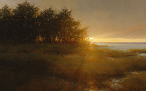 Jacob Collins - Fire Island Sunset, Oil on Canvas, 2004, 24 × 38, by Jacob Collins