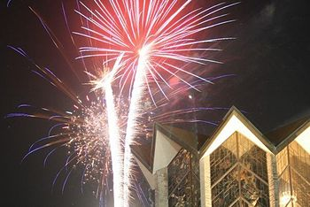 Fireworks by the Chapel of the Resurrection during Homecoming Weekend, September 2007
