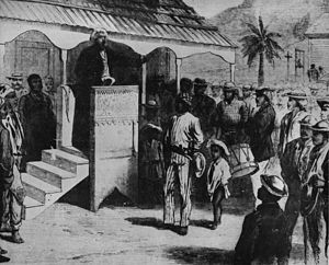 Samaná Americans - Frederick Douglass addressing a crowd of about 200 Samaná Americans in Samaná, January 28, 1871. He stands on a pulpit borrowed from a nearby Catholic church.