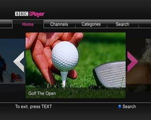 BBC iPlayer - BBC iPlayer as displayed by Freesat