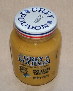 Grey Poupon mustard jar