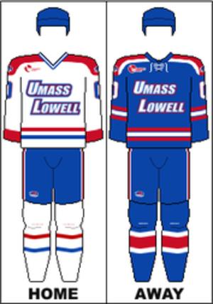UMass Lowell River Hawks men's ice hockey - Image: HE Uniform UML