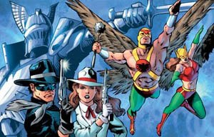 Hawkman (Carter Hall) - Some of Carter Hall's lives and wives. Art by Joe Bennett.