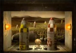 """It's Not the End of the World? - The promotional video for """"It's Not the End of the World?"""" features war imagery. In this screenshot a baby sits between two nuclear missiles."""