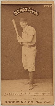 Jack Glasscock on an 1887-90 Goodwin & Company baseball card (Old Judge (N172)).