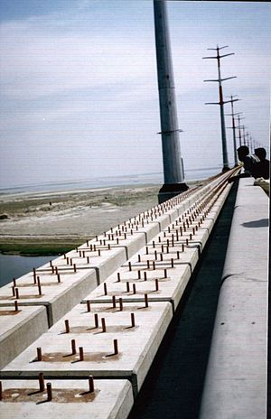 Bangabandhu Bridge - Jamuna Multi-purpose Bridge showing   8 rows of bolts for 4 rails