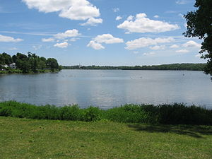 Wakefield, Massachusetts - Lake Quannapowitt, seen here, is the larger of Wakefield's two principal lakes, the other being Crystal Lake.