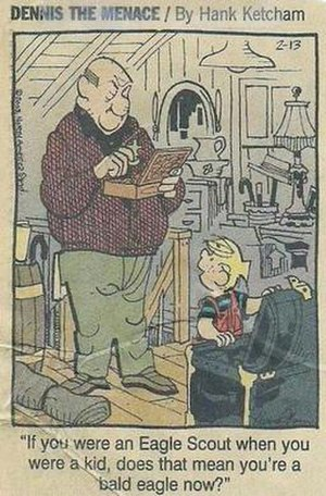 Scouting in popular culture - Dennis the Menace discussing Mr. Wilson being an Eagle Scout