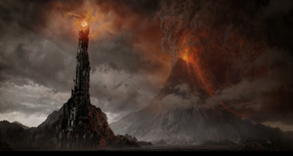 Barad-dûr - Barad-dûr and Mount Doom in Peter Jackson's The Lord of the Rings: The Return of the King, just moments before the former's destruction.