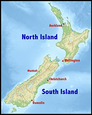 Communist Party of New Zealand - Map of New Zealand showing towns and cities of importance to the history of the early CPNZ.
