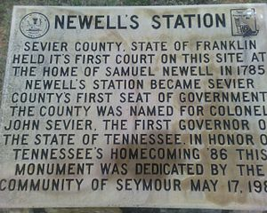 Seymour, Tennessee - Newell's Station plaque