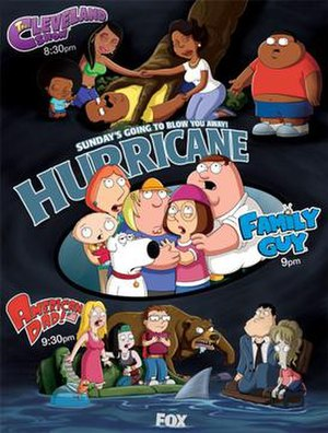 Night of the Hurricane - The crossover event involves three shows created by Seth MacFarlane from top to bottom: Cleveland, Donna, Rallo, Roberta,