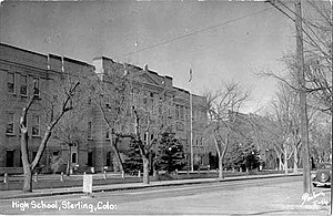 Sterling, Colorado - The original Sterling High School, built in 1909. This building later served as the Sterling Junior High School until the 1980s.