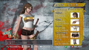 Onechanbara: Bikini Samurai Squad - Aya in dress-up mode, during which players can change the outfits the girls wear during the game.