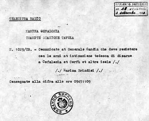 Order 1029-CS of the Italian Comando Supremo