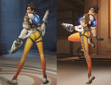 A youthful, female, Caucasian, computer-generated character holding automatic firearms and wearing orange leggings stands upright and looks over her left shoulder. In the left image she has both feet on the ground and is viewed from the back while in the right image she stands on her left leg with her right leg raised and placed beneath her buttock.