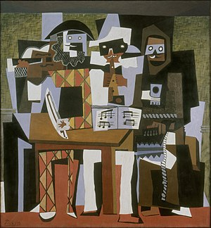 Three Musicians - Pablo Picasso, 1921, Nous autres musiciens (Three Musicians), oil on canvas, 204.5 × 188.3 cm, Philadelphia Museum of Art