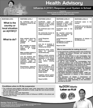 2009 flu pandemic in the Philippines - Department of Health's poster about what-to-do and response level system of the government regarding the flu.