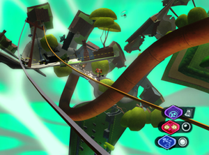 """Psychonauts - A screenshot of Raz (center) sliding across a power line within the twisted """"Milkman Conspiracy"""" level. Raz's current quick-access Psychonaut powers are shown in the bottom-right."""