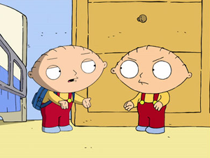 Back to the Pilot - Stewie unintentionally runs into his old self.