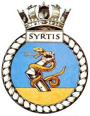 HMS Syrtis (P241) - Image: SYRTIS badge 1