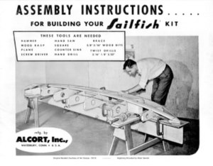 Sailfish (sailboat) - Cover shot of the Standard Sailfish kit instructions depicting how the building process was simplified by use of pre-cut parts, c1960