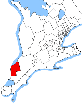 Sarnia—Lambton - Sarnia—Lambton in relation to other southern Ontario electoral districts