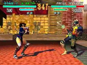 Soul Edge - Gameplay screenshot of a fight between Taki and Voldo