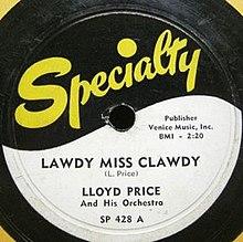 """Résultat de recherche d'images pour """"lloyd price - lawdy miss clawdy"""""""