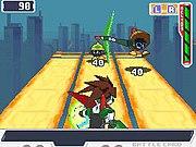 A screenshot depicting a battle sequence against EM Wave Viruses using the Green Shinobi form.