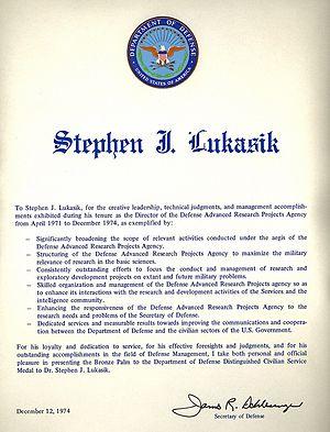 Stephen J. Lukasik - Lukasik's December 1974 DOD Distinguished Civilian Service Award citation.