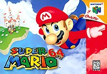 "Artwork of a horizontal rectangular box. Depicted is a flying cartoon man in blue overalls, a red shirt, and a red cap with white wings on the sides and the letter ""M"" on the front. He flies in front of a blue backdrop with clouds and a castle in the distance. The bottom portion reads ""Super Mario 64"" in red, blue, yellow, and green block letters."