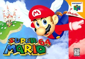 Super Mario 64 - North American box art depicting Mario flying with a winged cap in front of Princess Peach's castle