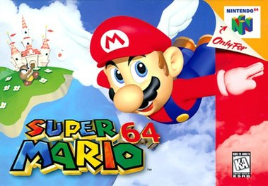 """Artwork of a horizontal rectangular box. Depicted is Mario flying with wings on his red cap caused by the """"Wing Cap"""" power up. He flies in front of a blue backdrop with clouds, a Goomba and Princess Peach's Castle in the distance. The bottom portion reads """"Super Mario 64"""" in red, blue, yellow, and green block letters."""