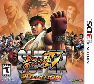 Super Street Fighter IV: 3D Edition - North American cover art featuring several playable characters
