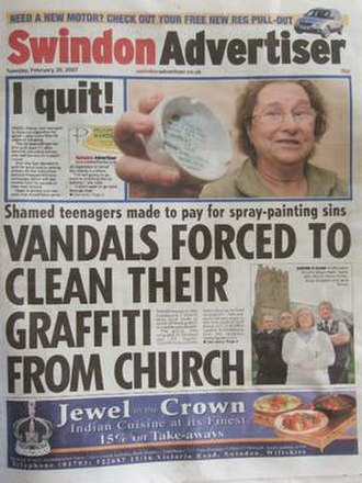 Swindon Advertiser - Image: Swindon Advertiser Frontpage