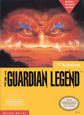 The Guardian Legend - An alien face peers over a reddish cratered landscape as lightning strikes. Below the landscape are logos and seals of the game, Brøderbund, and Nintendo on a yellow background.